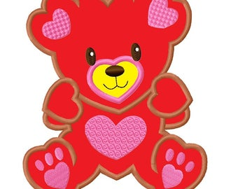 Cute Heart Teddy Bear Applique Embroidery Design 4 sizes INSTANT DOWNLOAD