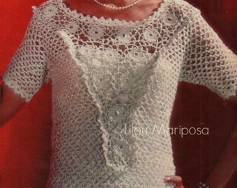 Crochet Top Pattern Crochet Blouse Pattern Crochet Lace Top Pattern Vintage 60s