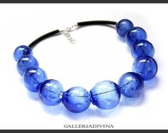 Blown glass rubber necklace -Glass bubbles - Spheres - Cobalt blue transparent beads - statement necklace - Rubber necklace - Murano glass