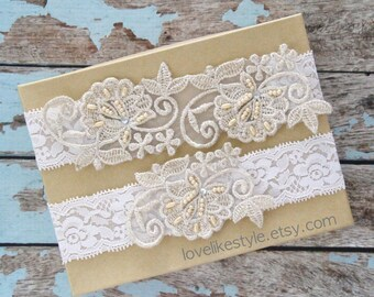 Light Gold Pearl Beaded Lace with Ivory Stretch Lace Wedding Garter Set , Light Gold Lace Garter Set, Toss Garter , Keepsake Garter  / GT-52