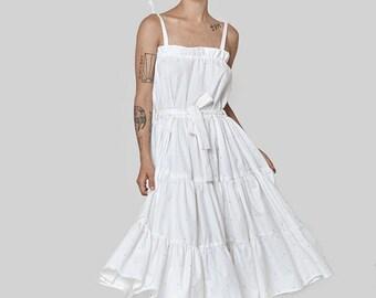 SUMMER 2017! White classic dress -sleeveless sarafan - nero straps - midi dress -white dress - cotton dress - oversized dresses