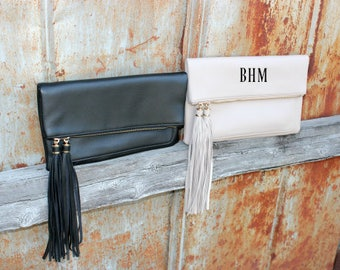 Monogrammed - Fold Over Clutch Cross Body Purse - Long Tassel Accent