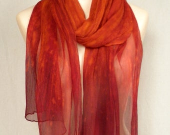 Ombre Crinkle Silk Chiffon Scarf - Hand Painted - Deep Orange with Deep Red Ends