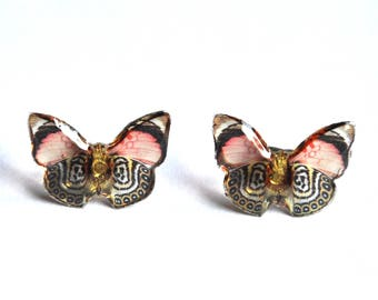Earrings chips transparent butterflies vintage and retro red and black color resin