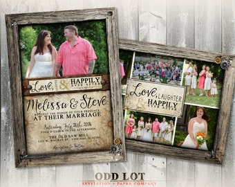 Rustic wood frame wedding photo card, Collage invitation, Rustic Wedding Invitation, Country Rustic Photo Invites Wood, Leather Printable