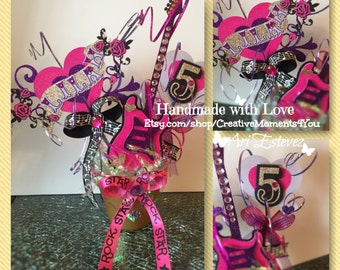Girl Rock Star Heart and Roses Table Center Piece