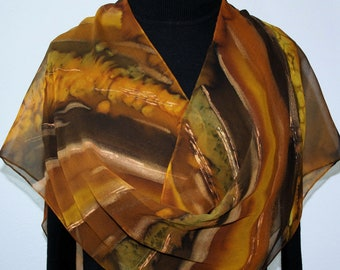Silk Scarf Brown Terracotta Hand Painted Chiffon Shawl BROWN SUGAR by Silk Scarves Colorado. Select Your SIZE! Birthday Gift Christmas Gift