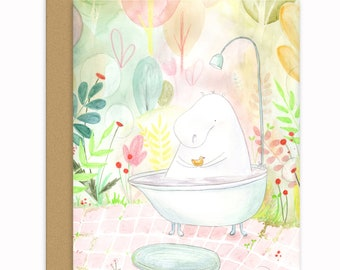 Hippo's Bath Greeting Card