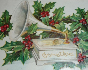 Gramophone With Holly Antique Christmas Postcard