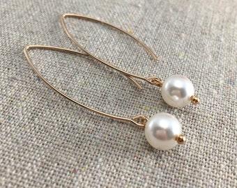 Dangling Pearl Earrings, Swarovski Pearl Earrings, Crystal Pearl Earrings, Rose Gold Earrings, Pearl Bridal Earrings, Bridesmaids Ask Gifts