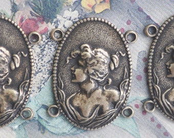 Three connectors for bracelets with Victorian Lady, Brass Ox