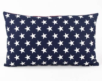 "Blue and White American Star Cushion Cover, Country Pillow, USA, 12x20"" Lumbar, White and Blue Star, Flag Star, Patriotic"