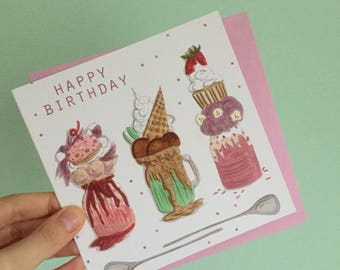 Milkshakes birthday card- birthday card for her- gift for her - feakshake