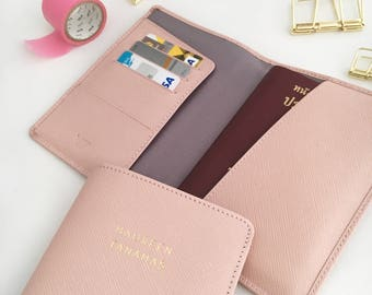 Personalized Leather Passport Holder - Monogram Passport Cover- Leather Passport Case- Leather Passport Cover - Passport Wallet (Baby Pink)