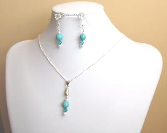 Pendant and earrings set, Turquoise, freshwater pearl, Swarovski crystal