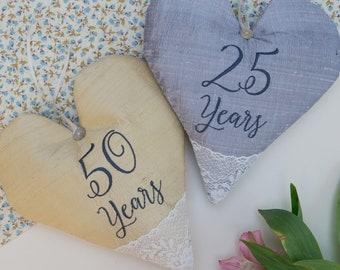Silk Anniversary Heart, 50th anniversary, 25th anniversary, wedding anniversary, 50th wedding anniversary, 25th wedding anniversary, wedding