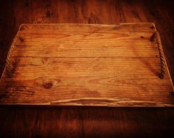 Rustic Handmade Rope Handles Dinner Tray pallet furniture