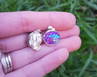 Purple based mermaid dragon scale  silver plated clip on earrings. Colour change 1.2cm  mermaid aura gems
