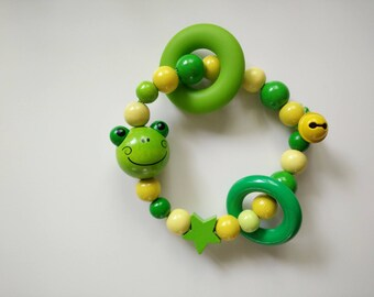Bell frog 3D yellow and green teething rattle