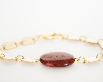 SALE - Nugget Faceted Pink Agate Gemstone Bracelet - Gold Plated Chain