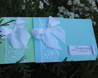Delicate Wedding Invitation Lace Ribbon Bow, Pearl Button, Custom Design, Personalized Invitations, Classic Wedding Card, Colors Available