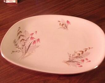 Vintage Royal Duchess Mountain Bell Platter w/ Silver Edging