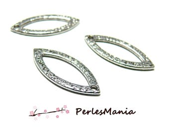 10 diamond hammered marquise P780 color ANTIQUE silver metal charm pendants