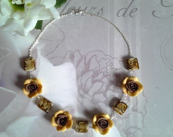 Flower necklace and lampwork glass beads