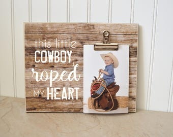 Cowboy Photo Frame, Personalized Picture Frame, Photo Clip Frame, Gift for Mom, Father's Day Gift Idea For Dad; This Little Cowboy
