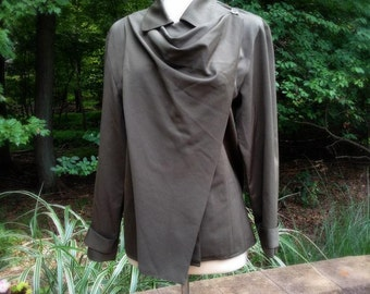 Anne Klein VINTAGE 90s Army Green Military Wool Light weight Parka Jacket Coat MED