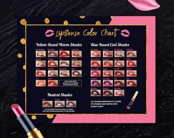 LipSense Color Chart, Senegence Colors List, Lipsense Warm/Cool/Neutral Colors, Shades, Lip Colors, 8,5x11, Instant Download