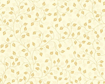 Leafy Vine - Cream Gold (23543-ES) by Quilting Treasures Cotton Fabric Yardage