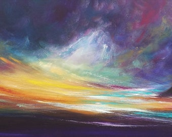 Reverie -  seascape,purple, blue, original art, painting, panoramic, emotional, inspirational, dramatic art