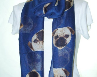 Navy pug dog print scarf, Beach Wrap, Cowl Scarf, pug print scarf, cotton scarf, gifts for her