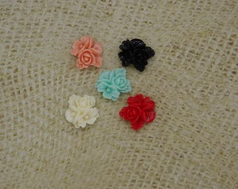 5 assorted 17mm resin flowers