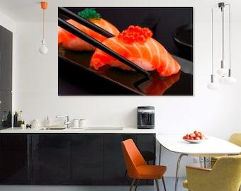 Sushi Canvas Wall Art Sushi Print Sushi Art Sushi Decor Japanese Decor Sushi Lover Gift Sushi Wall Art Sushi Poster Kitchen Decor Canvas Art