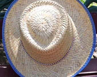 Vintage Cowboy Hat with Blue Rim