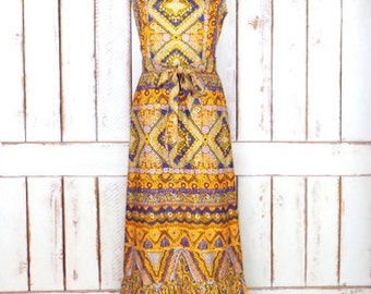 60s vintage Liberty Circle psychedelic maxi sleeveless dress/long boho hippie ruffle festival dress/belted Mod dress