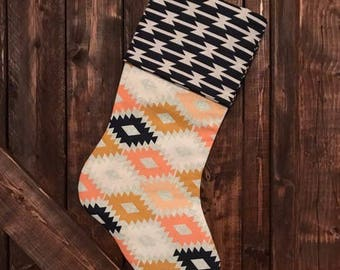 Aztec Print Christmas Stocking
