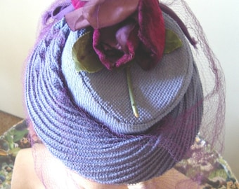 "1940's Cornflower Blue ""TOY"" Style Cocktail Hat/ Fuchsia Roses/Purple Veil  Item #750  Hats"