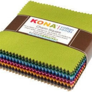 """Kona Cotton - 5"""" Squares """"Dusty Assortment"""" by Robert Kaufman -- 101 -5 inch squares. Charm Pack, Solid Kona, solid fabric"""