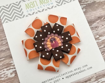 Thanksgiving Turkey Hair Bow - Thanksgiving Hair Clip - Thanksgiving Hair Accessory -Turkey Hair Clip - Turkey Hair Bow -Thanksgiving Bow