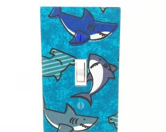 Shark Light Switch Cover - Blue Shark Switch Plate - Shark Bathroom Decor - Kids Shark Room