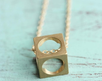 Cube Necklace Brass, Geometric Cube Necklace, Brass Square Necklace, Brass Pendant Necklace, Gold Filled Necklace, Long Necklace, Gold Chain