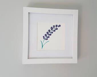 Purple Lavender - Original Painting - Flower - Framed