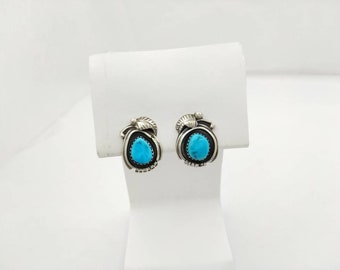 Turquoise and Silver 925 clip earrings marked initials South West Gorgeous Sterling