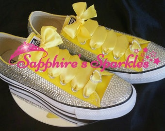Yellow Wedding Converse Completely Covered Crystals Bling Customised Yellow  Bride Converse Prom Converse Wedding Shoes Bride Shoes