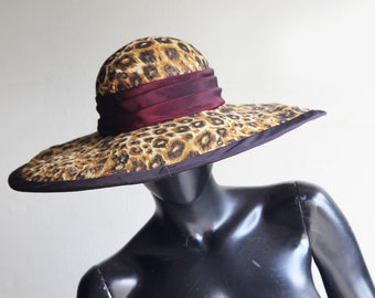 Vintage Whittall Shon Straw Hat with Chiffon Leopard Print covering  Pleated band and Black trim US One size
