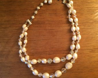 Vintage Mid-Century Pearl and Crystal Double Strand Necklace/Double Strand Faux Pearl And AB Crystal Necklace, Bridal Jewelry
