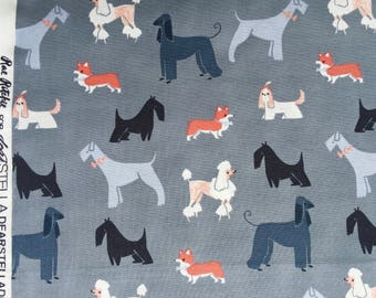 SALE : Tea Party Show Dogs pewter Rae Ritchie Dear Stella fabric Fat Quarter or more